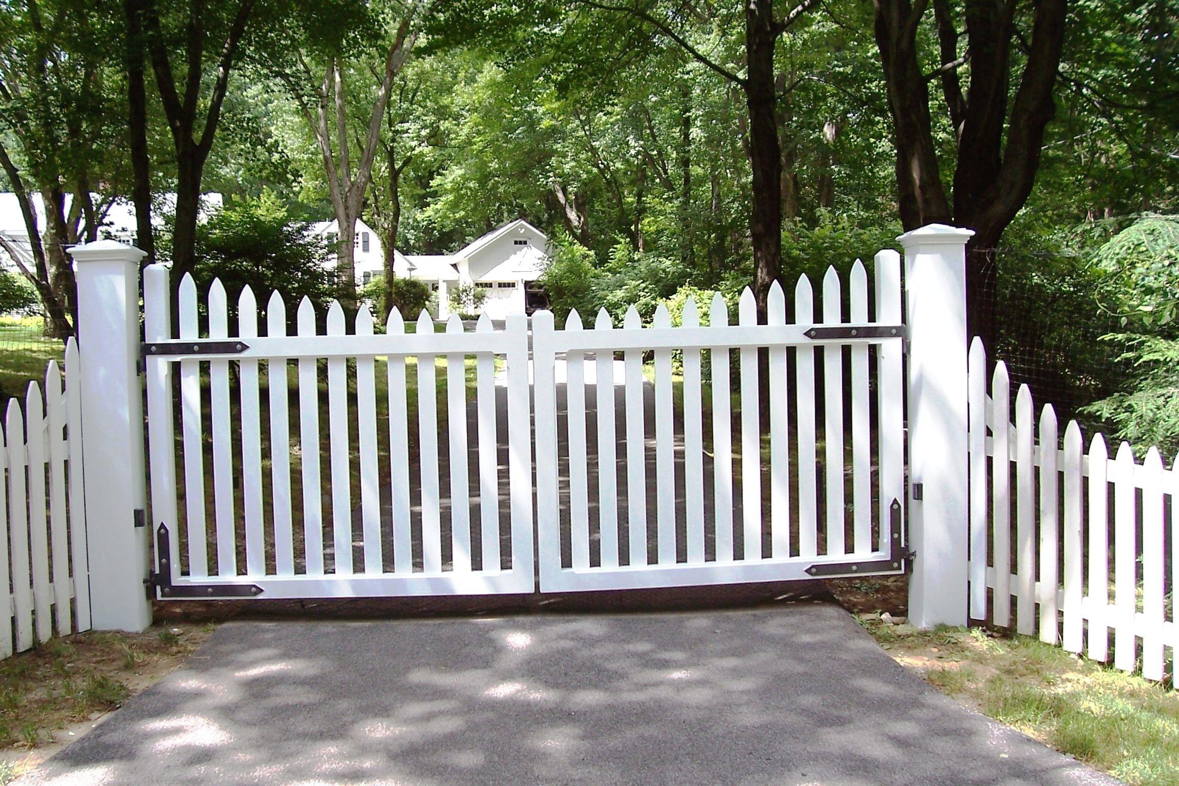 Automated White Wood Picket Gate Wood Gates Driveway Wood
