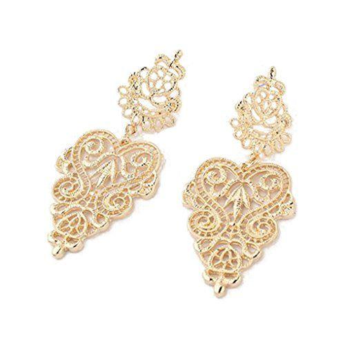 Meidus Classic Bohemian Hollow Out Alloy Heart Flower Dangle Earrings Stud Earrings >>> Want additional info? Click on the image.(This is an Amazon affiliate link and I receive a commission for the sales)