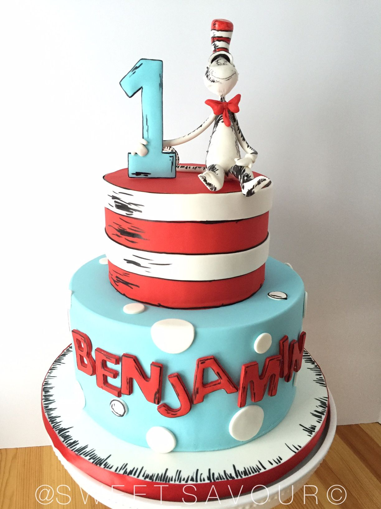 Astonishing Cat In The Hat Dr Seuss Birthday Cake Sweet Savour By Felicia Funny Birthday Cards Online Alyptdamsfinfo