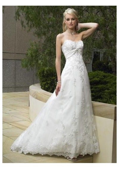 Tulle appliqued  sweetheart strapless a line skirt with sweep train simple summer wedding dress wm 0022
