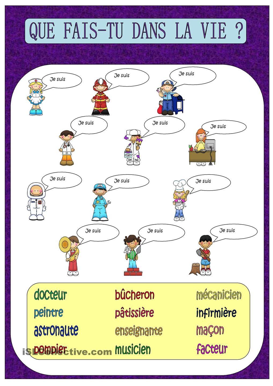 Que Fais Tu Dans La Vie Vocabulaire Francais L Enseignement Du