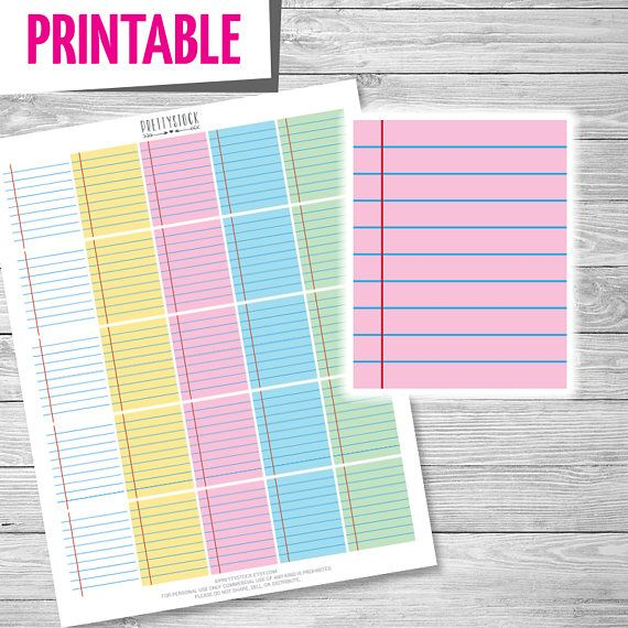 Lined Paper Stickers, Printable Lined Stickers, Full Box Planner - printable lined paper