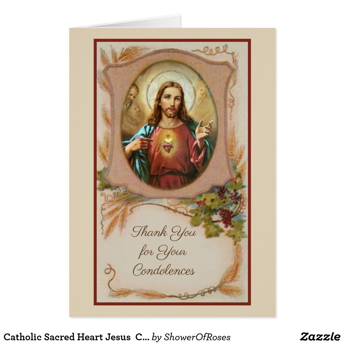 Catholic sacred heart jesus condolence thank you zazzle