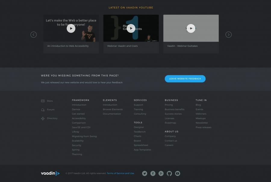 Vaadin Web Software Footer design and video pop-ups.