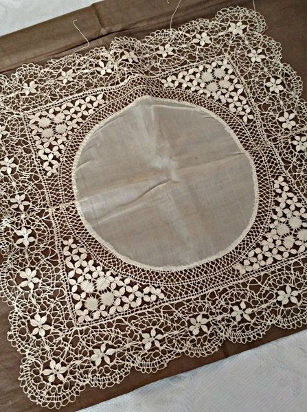 Antique UNUSED Victorian Metal Work Doily Gold Tone Netting Trim #A