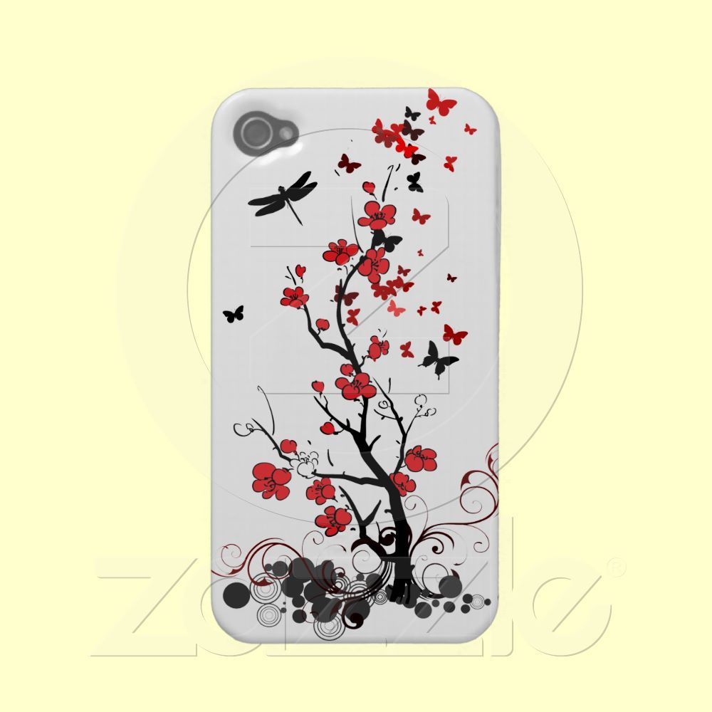 Red & Black flowers iPhone4 Case