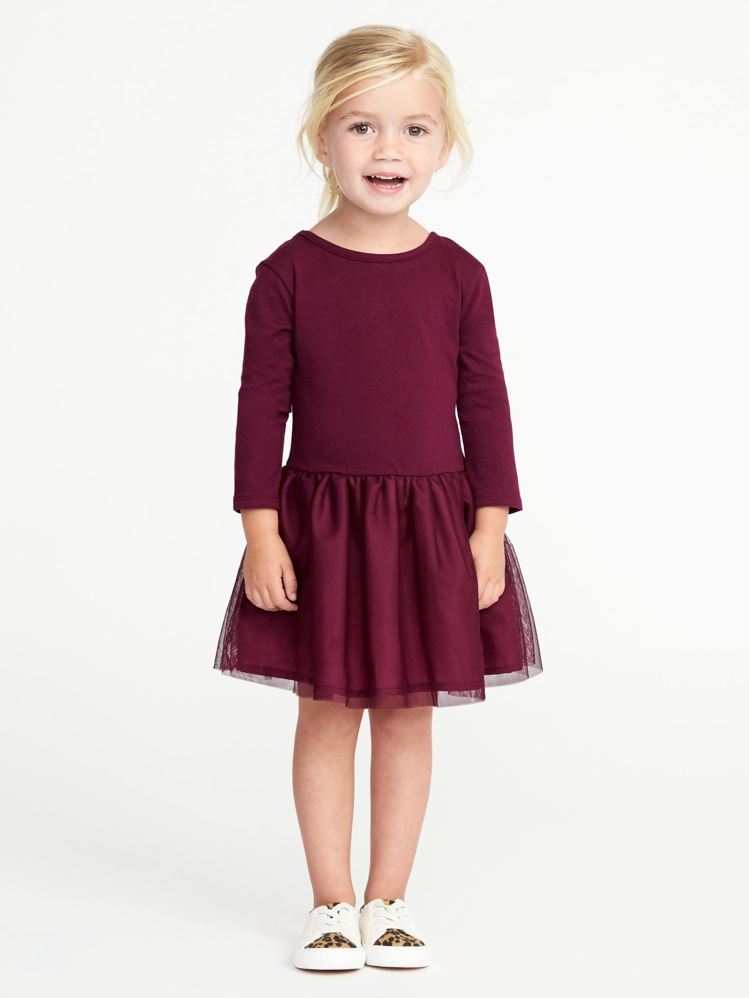 Old Navy Scoop Back Tutu Dress for Toddler Girls in Wine