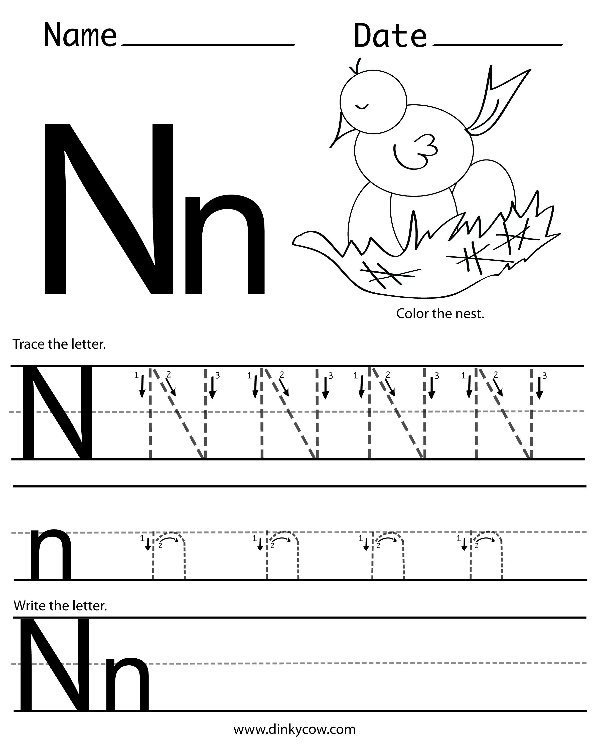 N Free Handwriting Worksheet Print Jpg 2 400 2 988 Pixels Letter Worksheets For Preschool Letter N Worksheet Kindergarten Worksheets Printable