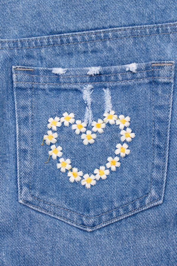 Heart Embroidery On Back Pocket Of Jeans Stock Photos Clothes Embroidery Diy Embroidery Jeans Diy Sewing Embroidery Designs