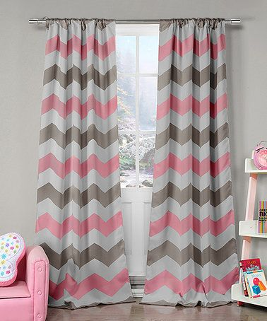 This Gray Pink Chevron Blackout Curtain Panel Set Of Two Is
