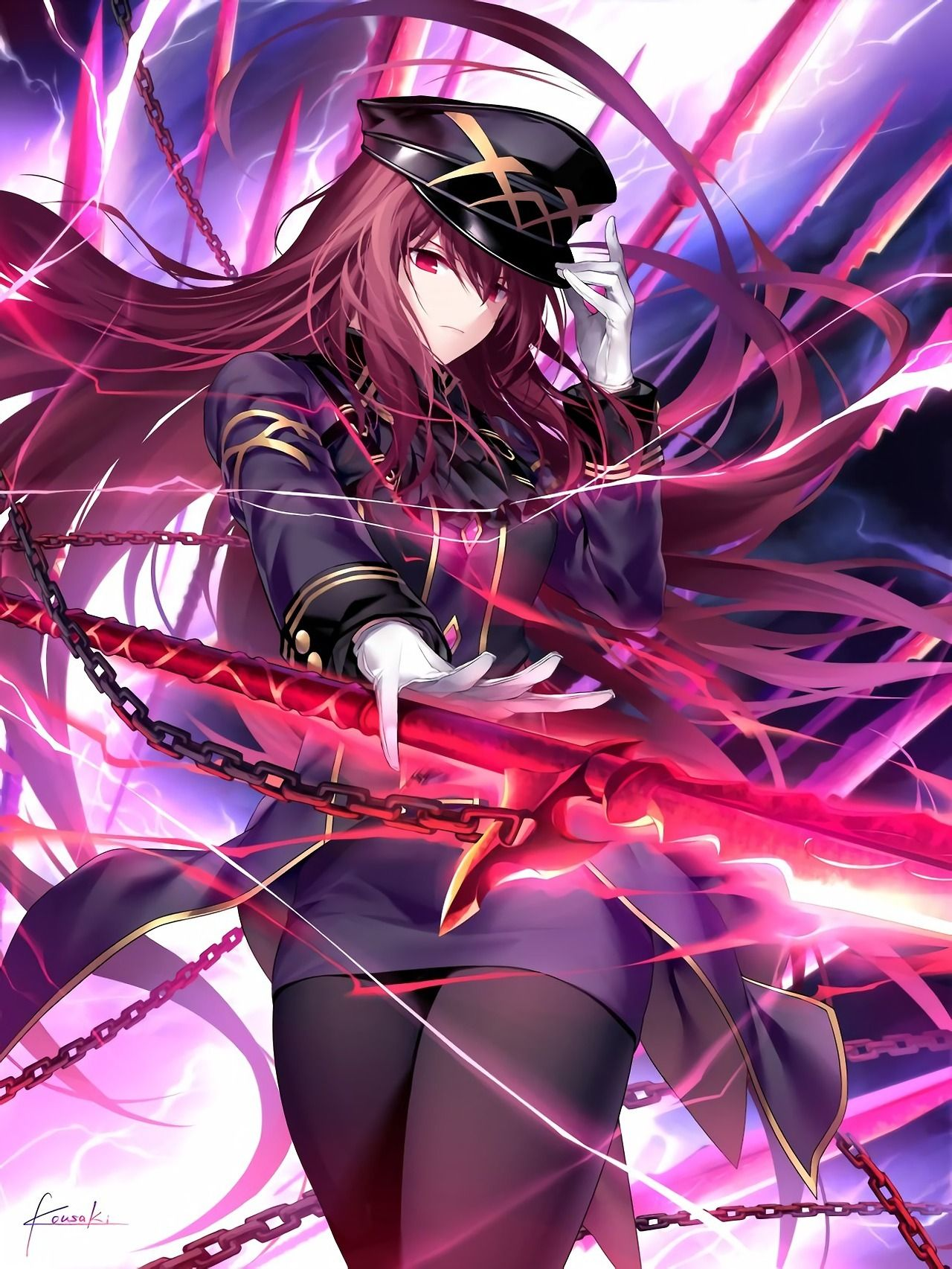 scathach lancer in military uniform fate grand 06 jan 2018