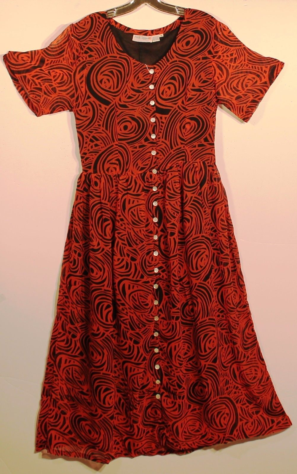 Awesome awesome rustic red and black rose swirl rayon maxi dress