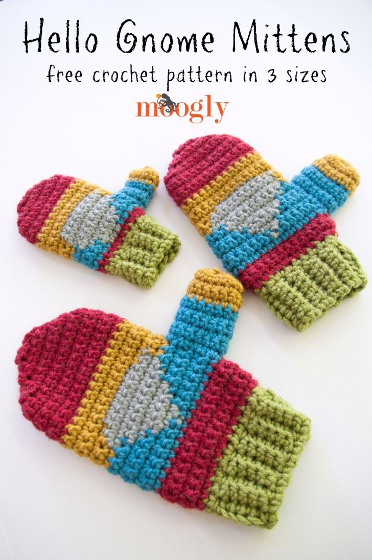 Hello Gnome Mittens! Free crochet pattern on Mooglyblog.com, in 3 ...