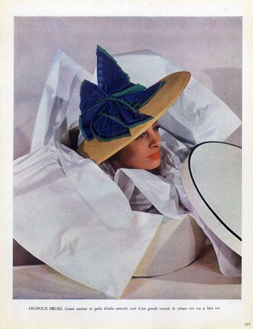 Legroux Soeurs (Millinery) 1949 Canotier Hat, Hatbox | Hprints.com