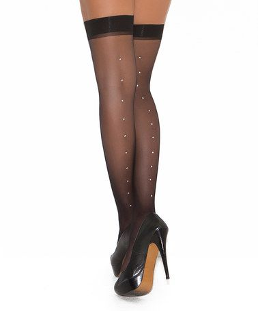 8b4636023 This Black Sheer Rhinestone Thigh-High Stockings - Plus by Elegant Moments  is…