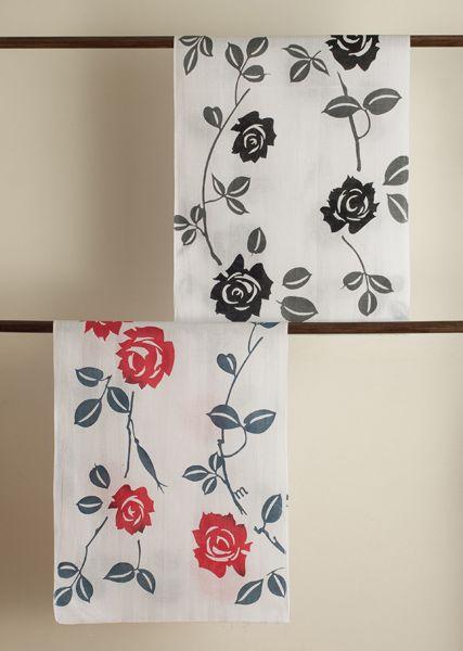Tenugui Japanese Towel : Rose   momiの日本てぬぐい/バラ   Tenugui