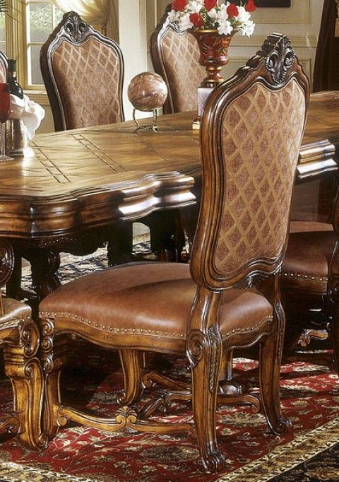 Complete The Tuscano Dining Set With Tuscano Side Chairs Each Upholstered In A Combination Of Plush Fabric And Rich Soft Italian Lea Furniture Chair Side Chairs