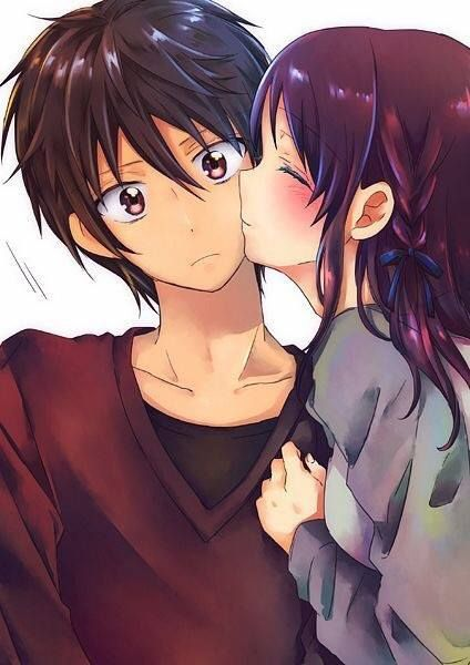 Cheek Kiss 3 Anime Nagi No Asukara Anime Couple Kiss