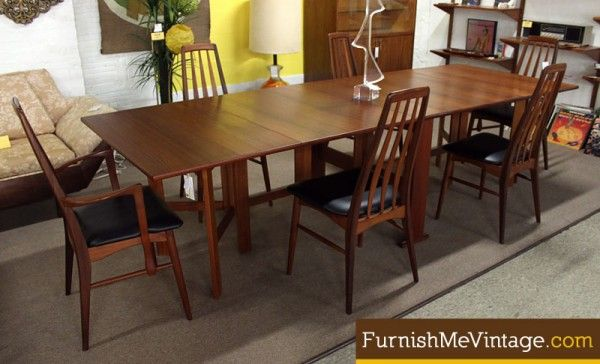 Furnish Me Vintage Folding Long Narrow Danish Teak Dining Table Folds