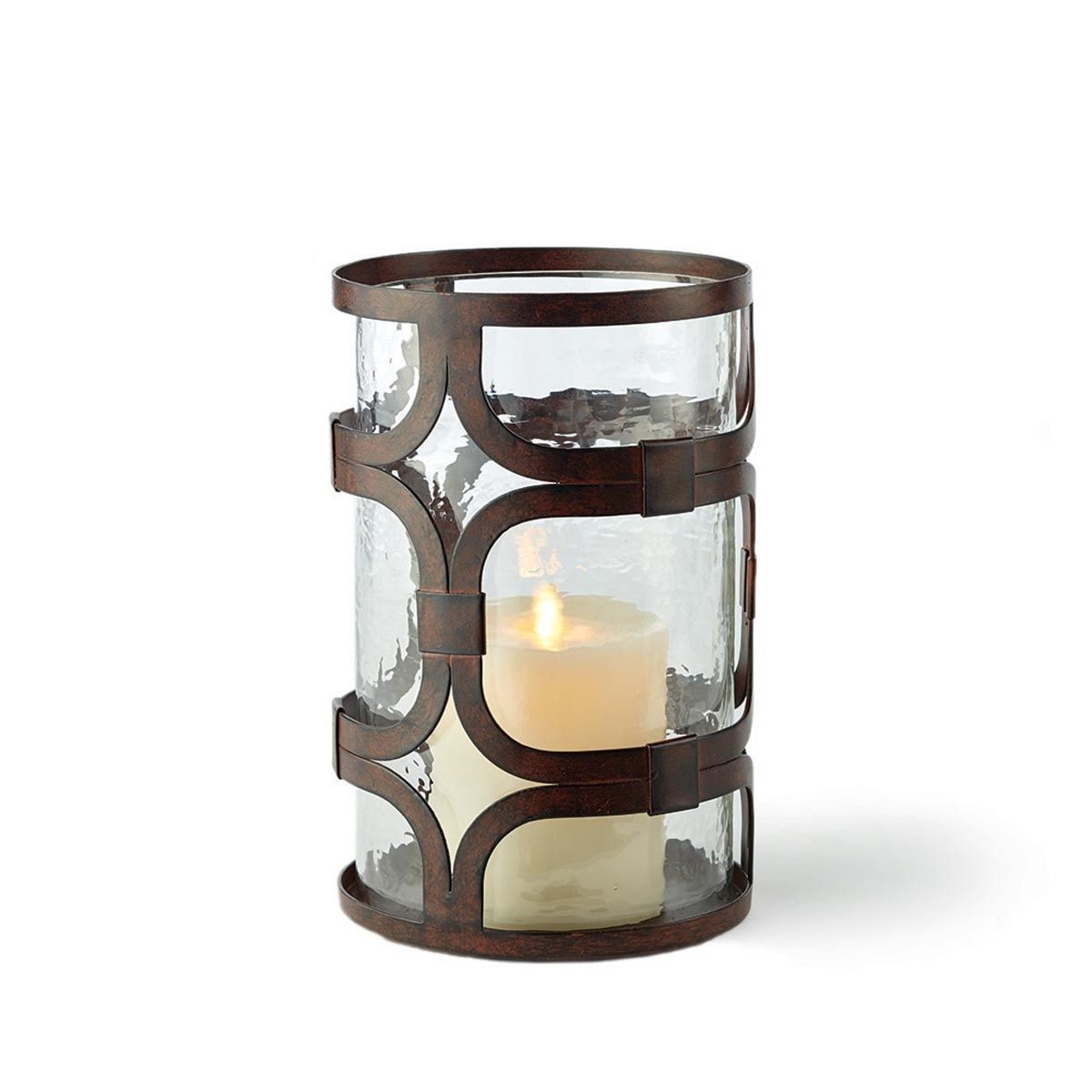 "Castillian Geometric 10.5""Hurricane Plum & Post Candle"