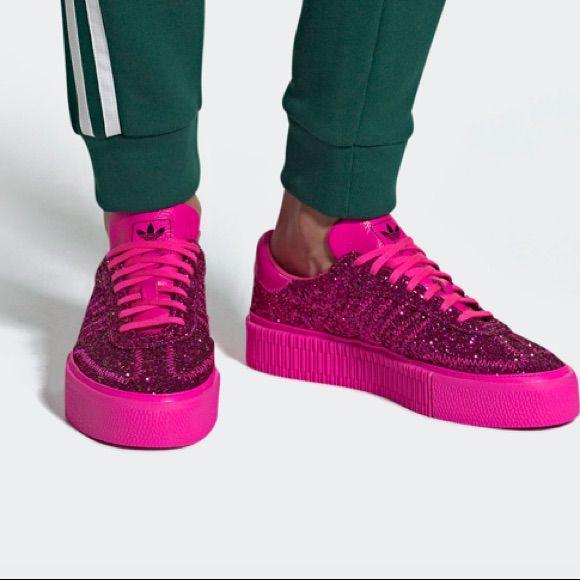 adidas Shoes | Adidas Sambarose Pink Glitter Platform