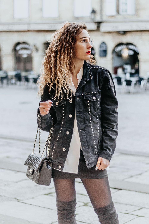 veste en jean noir clou femme