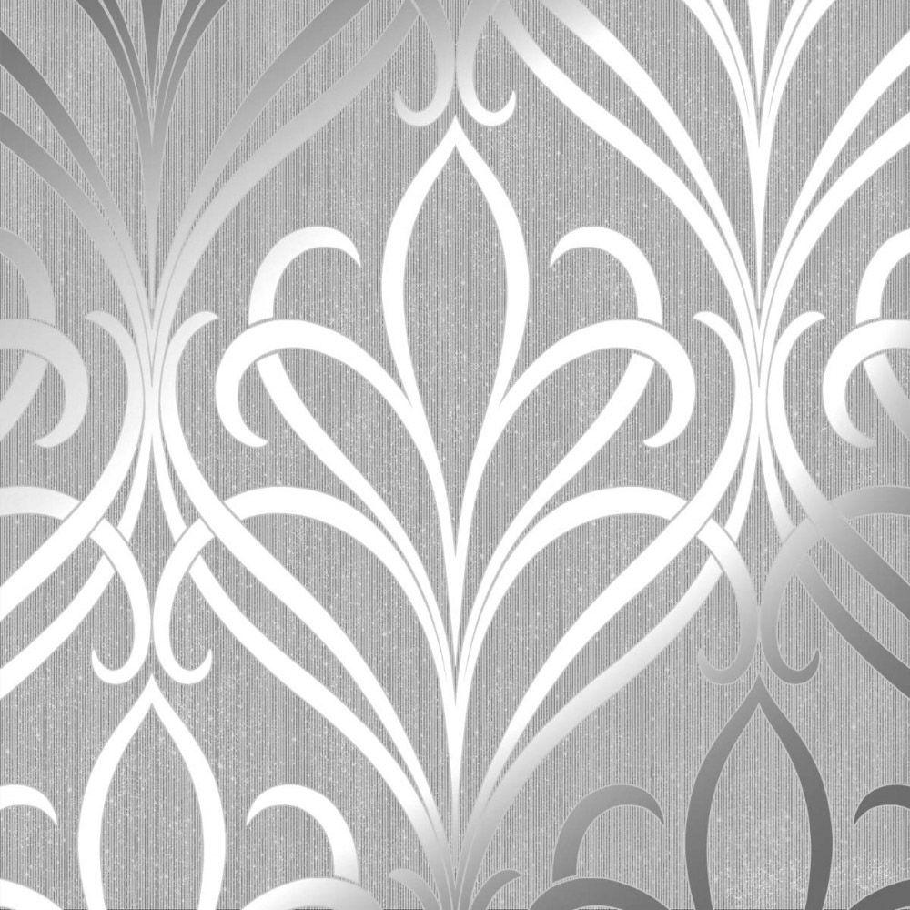 Henderson Interiors Camden Damask Wallpaper Soft Grey Silver In