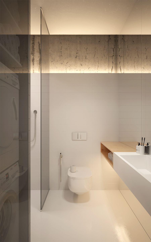 petite salle de bains hyper tendance. Bois + Blanc + Béton - Très ...
