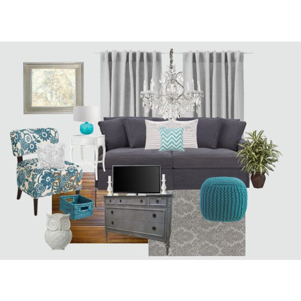 Gray And Teal Living Room By Jurzychic On Polyvore For