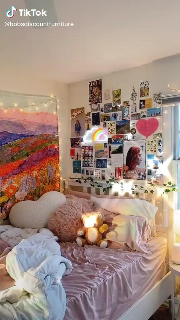 Credit To Bobsdiscountfurniture On Tiktok Inspo Room Room Wall Painting Ideas Aesthetic Indie Room Dreamy Room Girl Bedroom Decor