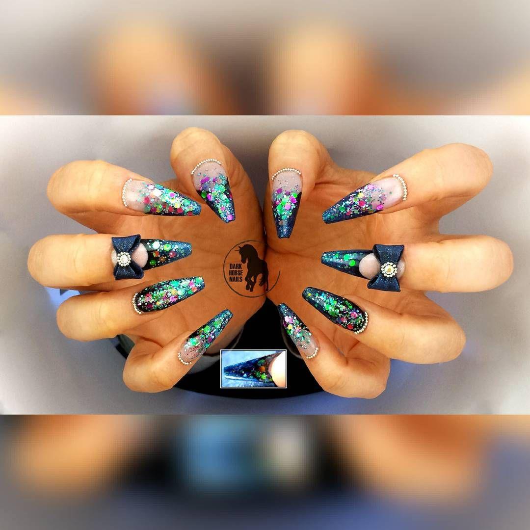 darkhorsenailstudio 3D bows glitter acrylic nails Private salon in ...
