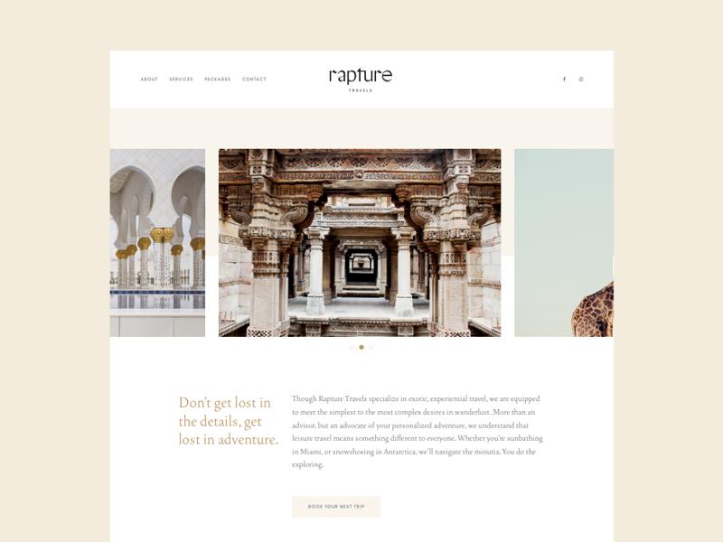 Rapture Website Screen Design Rapture Website Design
