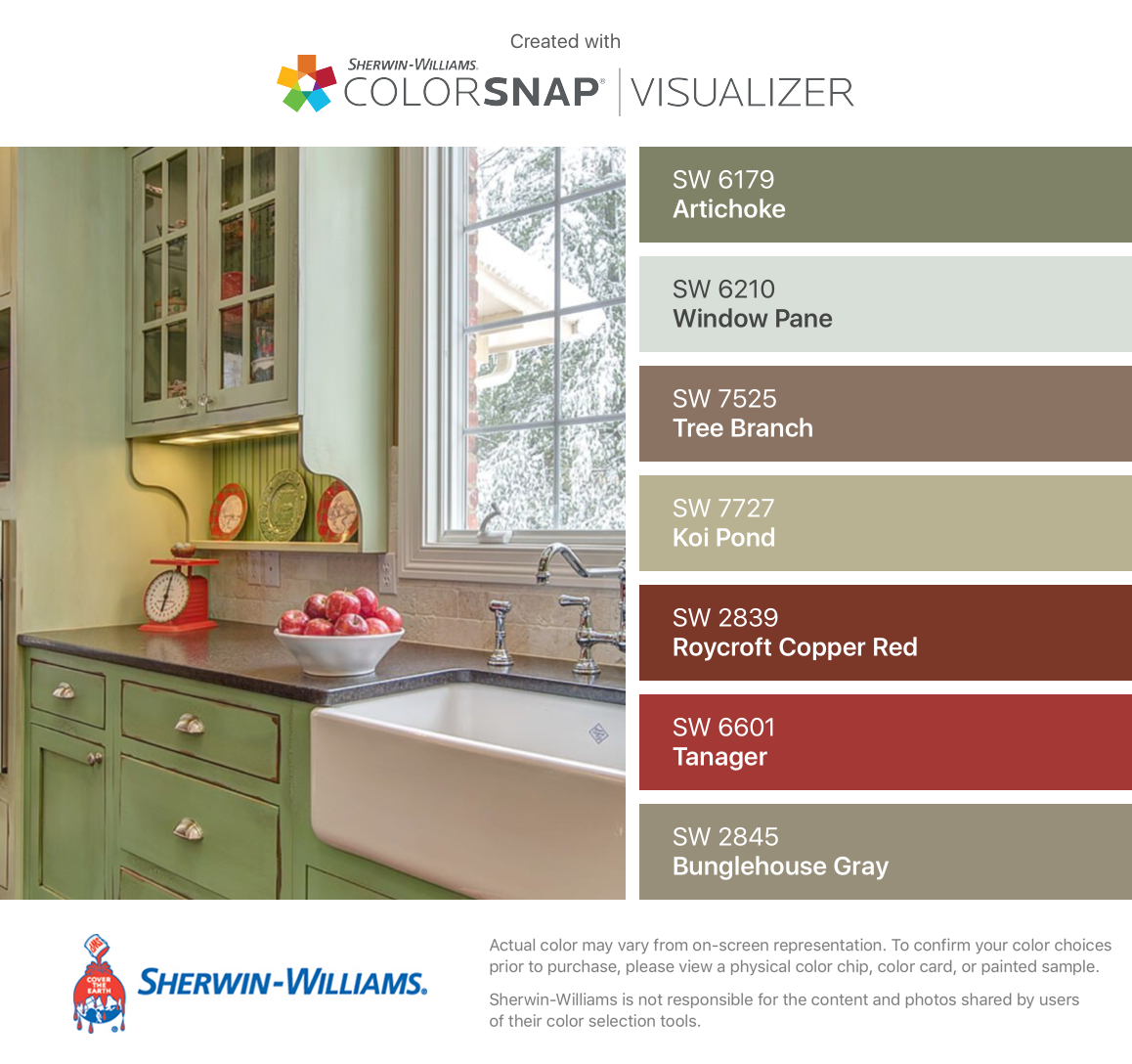I found these colors with colorsnap visualizer for iphone - Sherwin williams artichoke exterior ...