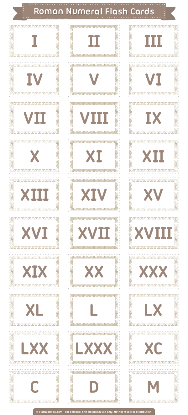 Free printable Roman numeral flash cards. Download them in PDF format at  http://flashcardfox.com/download/roma…   Flashcards [ 1323 x 600 Pixel ]