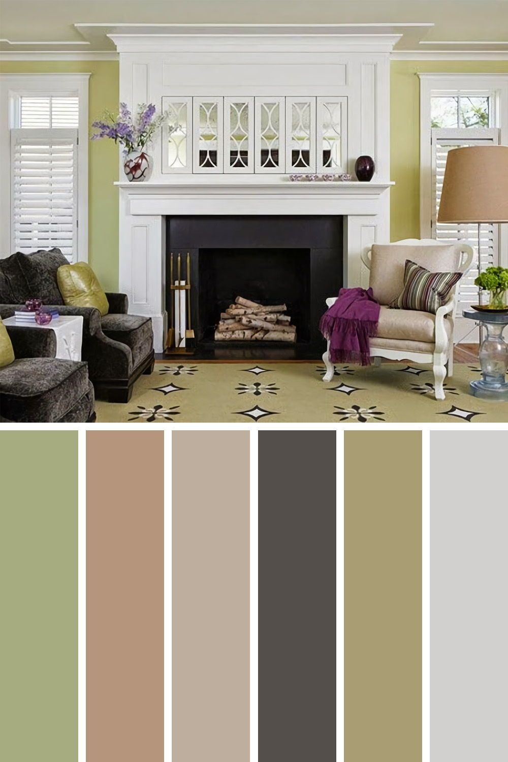 Amazing Green And Cream Living Room Color Sch