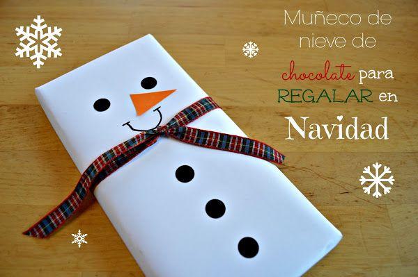 Manualidades Regalar En Navidad.Tabletas De Chocolate Convertidas En Munecos De Nieve Para