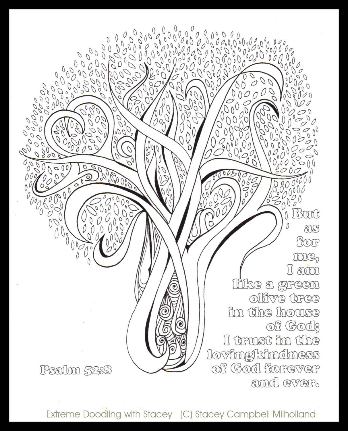 Olive Tree Coloring Page Digital Download By DesignsbyStaceyLynn