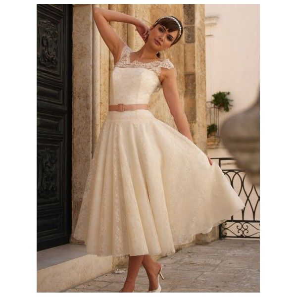 Irish Pink Belted Tea Length Lace Wedding Dress