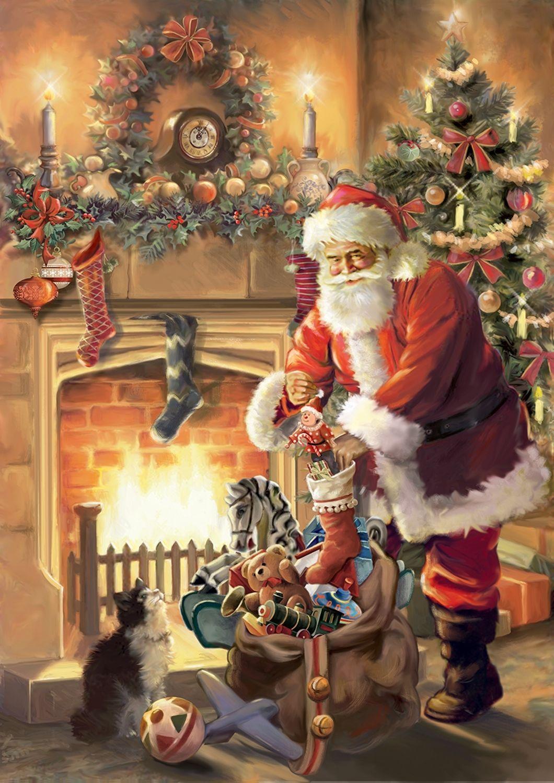 $5.99 - Santa By Fireplace Garden Flag Christmas Tree Stockings ...