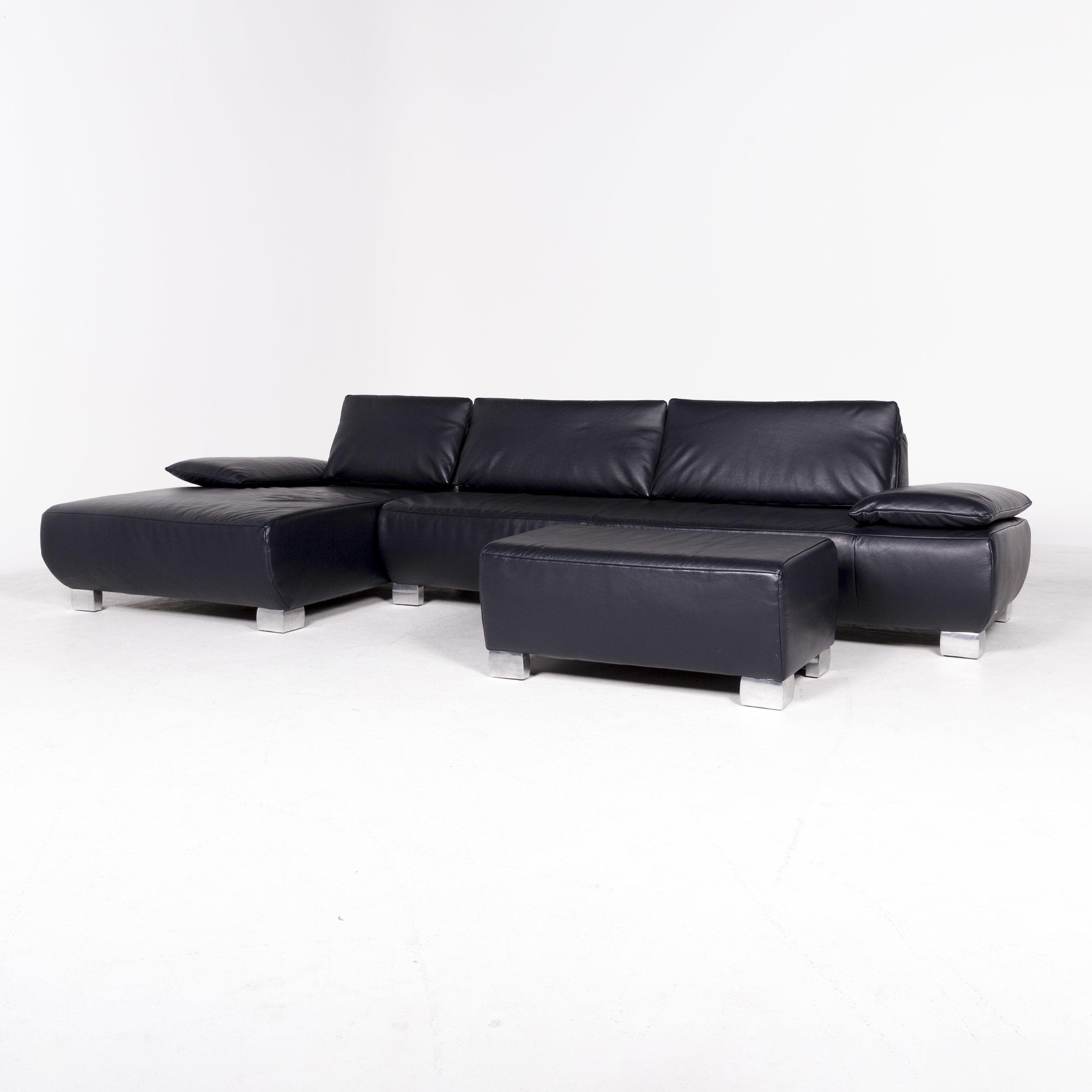 Koinor Volare Designer Corner Sofa With Stool Blue Dark Blue