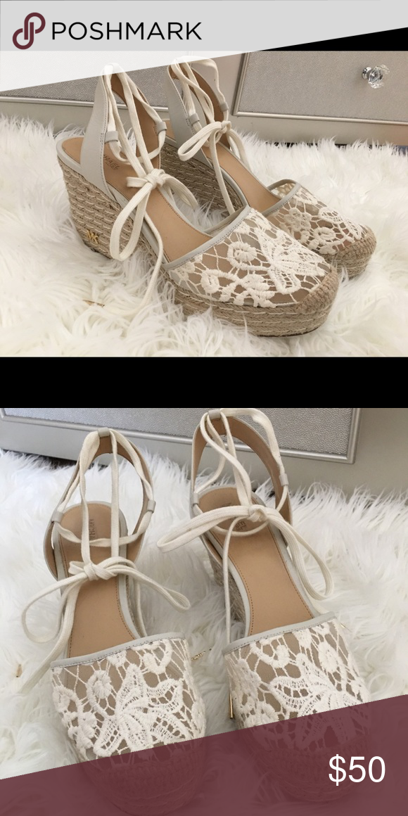 3dc15cf1c80 Michael Kors Shoes | Michael Kors Wedge Heels | Color: Cream/White ...