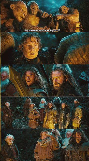 I love how Kili didn't throw down his sword until Thorin did