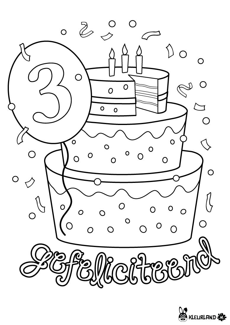 verjaardagstaart 3 jaar kleurland nl kleurplaten