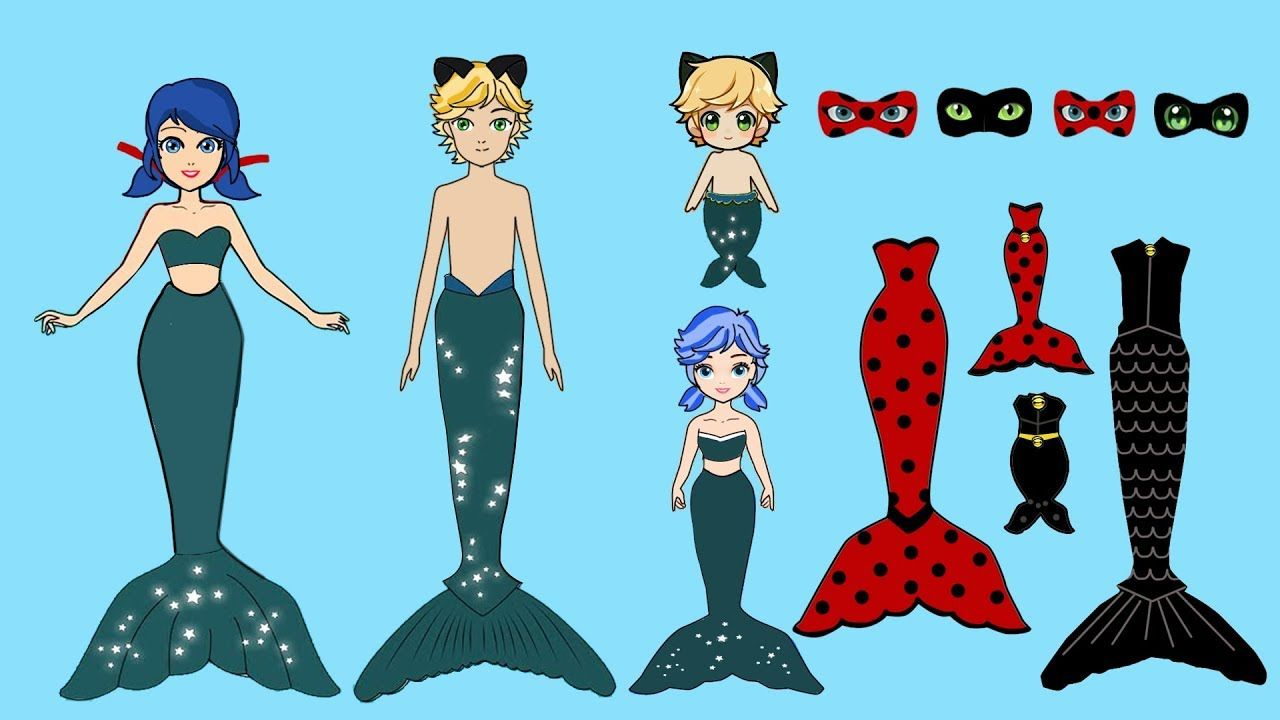 Family Dress Up Mermaid Ladybug Cat Noir Paper Dolls Costumes Papercrafts Youtube Paper Doll Costume Paper Dolls Doll Costume