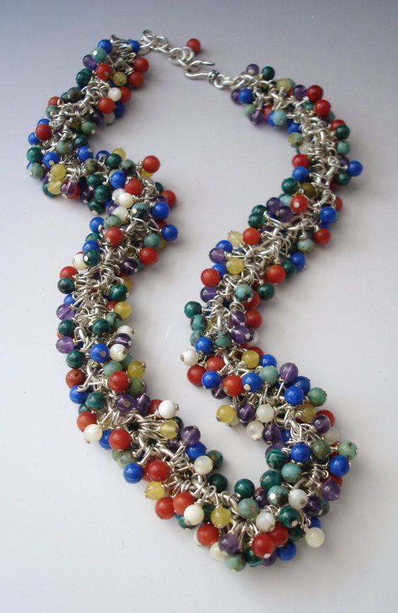 From my beading days: Multistone beaded fringe necklace, by slathered on Etsy SOLD
