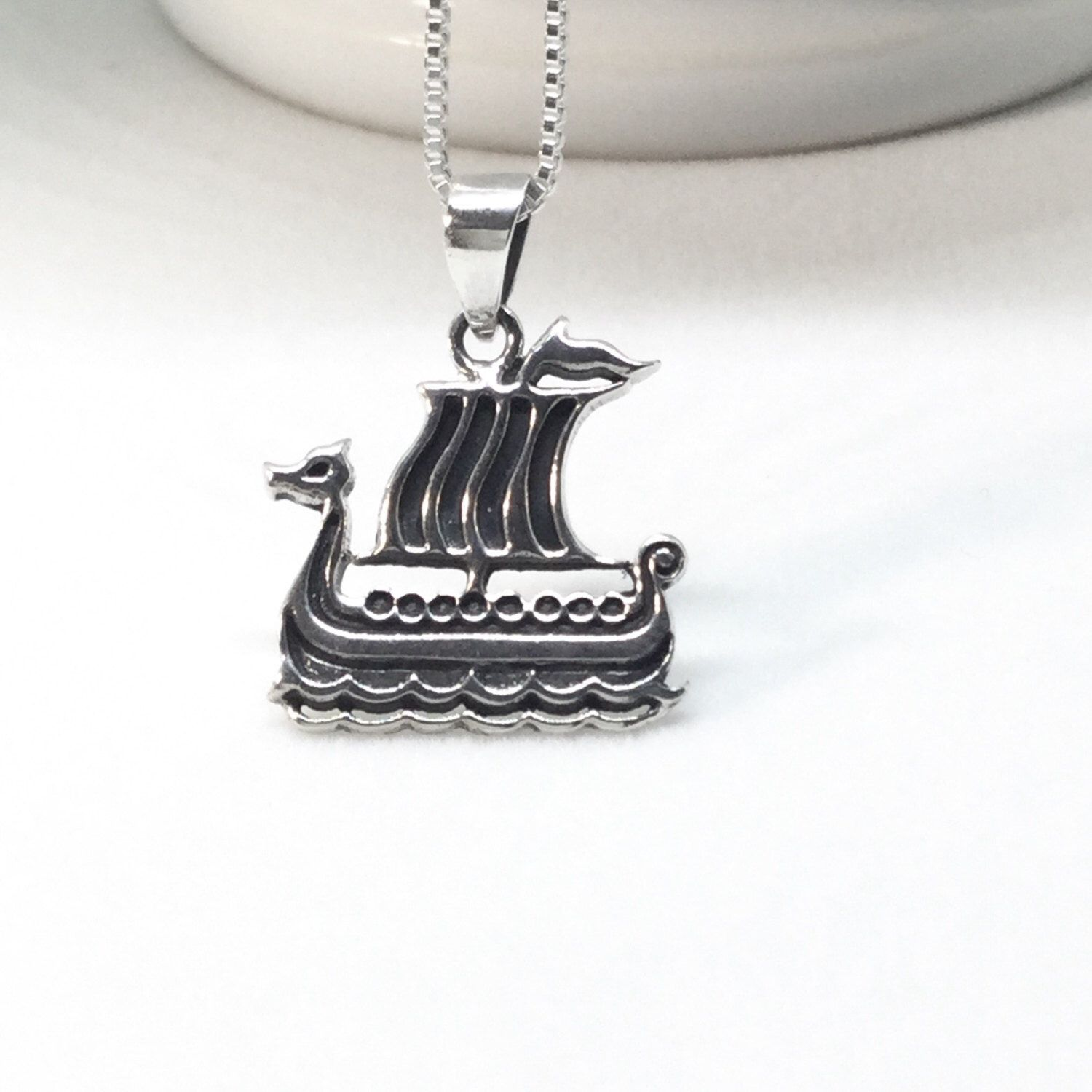 Viking Ship Necklace Sterling Silver Viking Necklace Viking  Boat Pendant 925 Silver Scandinavian Jewelry Dragon Boat Pendant by PetitDepot on Etsy https://www.etsy.com/uk/listing/494717721/viking-ship-necklace-sterling-silver
