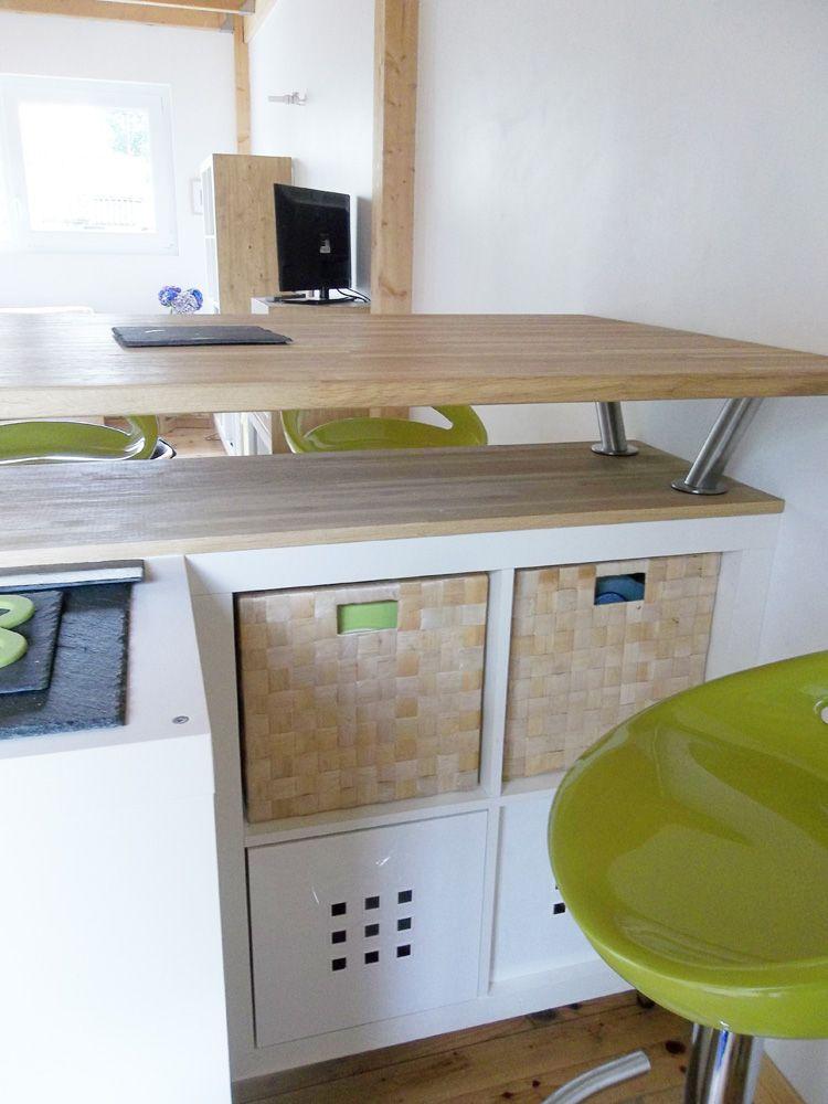 Table bar de cuisine avec rangement table tabourets bar - Transformer une table de cuisine ...