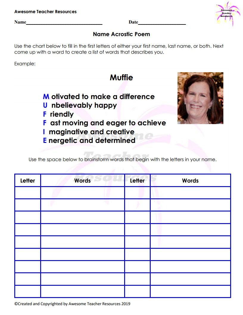Name Acrostic Poem Worksheet In 2020 Fun Writing Activities Acrostic Writing Activities