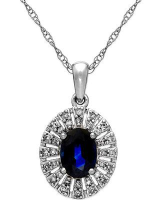 Sapphire (1 ct. t.w.) and Diamond (1/8 ct. t.w.) Pendant Necklace in 14K White Gold