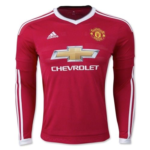 99239f0f adidas Men's Manchester United 15/16 Home Long Sleeve Jersey Risk Red/Black/ White
